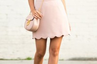 a striped t-shirt, a blush scallope edge mini, nude wrap shoes, a blush bag and a statement necklace