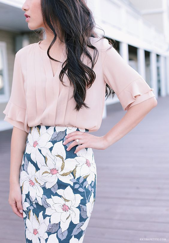 a blush shirt and a floral pencil skirt is a stylish combo for a spring work look and it never goes out of style