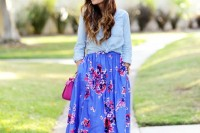a colorful spring look with a blue chambray shirt, a colorful floral A-line skirt, a fuchsia bag and light pink shoes