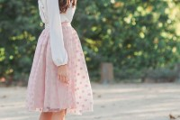 a date look with a neutral top, a pink polka dot A-line skirt and nude shoes with ankle straps