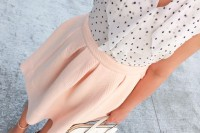 a fresh spring look with a polka dot shirt, a pink pleated knee skirt, blush shoes and a white bag