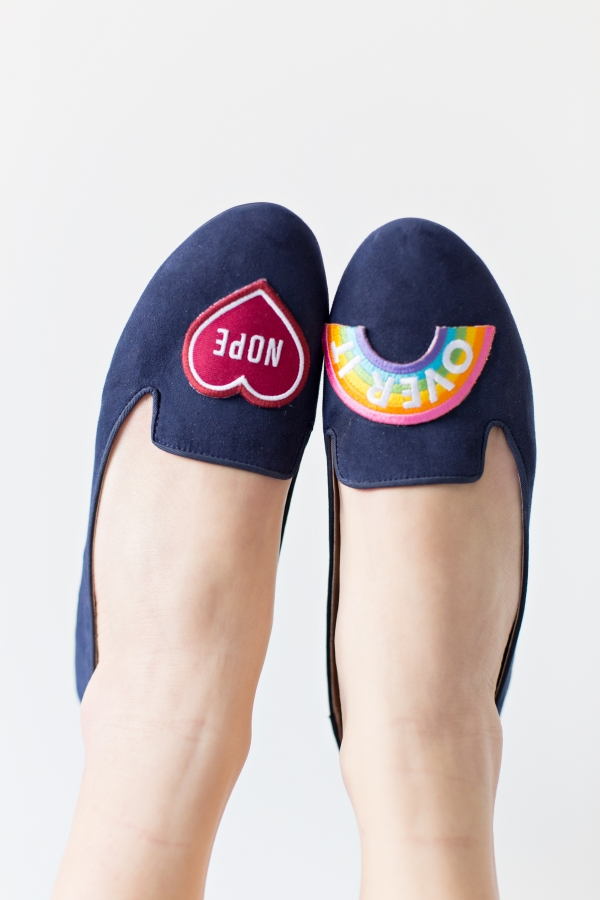 Picture Of lovely diy no sew embroidered loafers  3