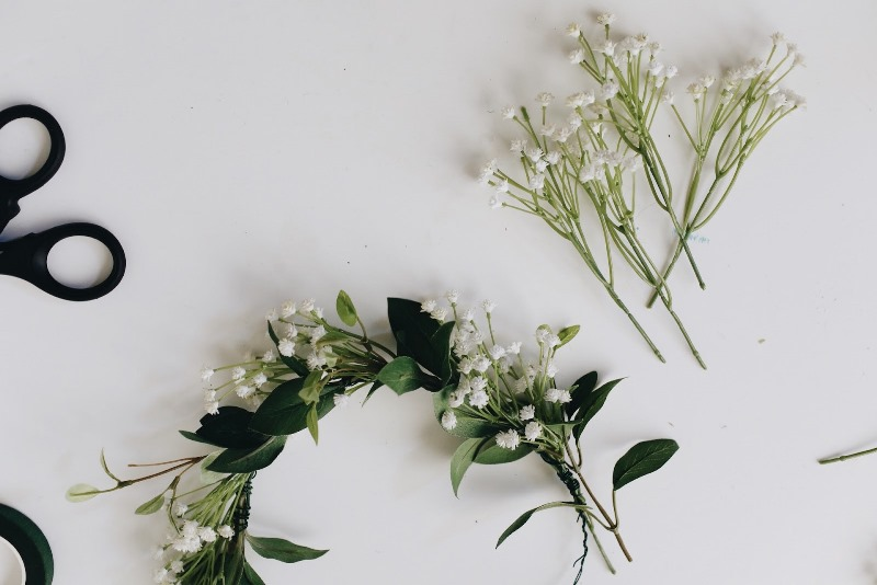 Picture Of lovely spring diy babys breath flower crown to make  2