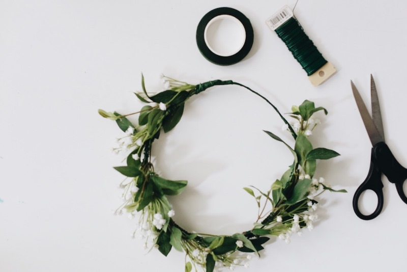 Picture Of lovely spring diy babys breath flower crown to make  3
