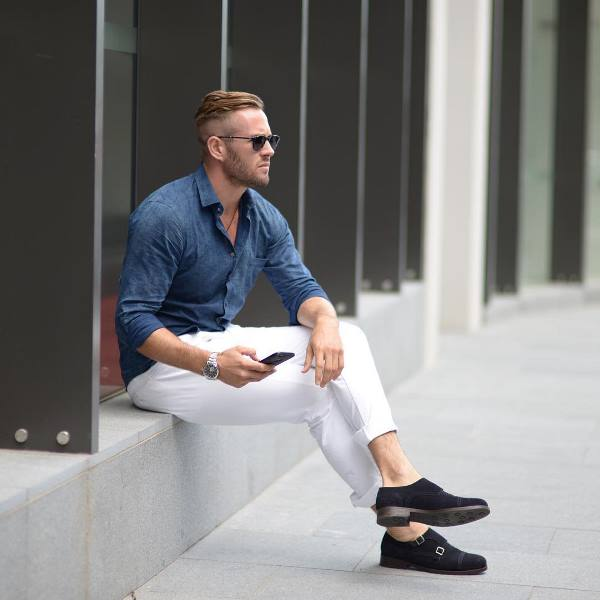 a chambray long sleeve shirt, white pants, navy velvet shoes for an every day look