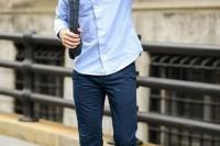 a light blue long sleeve shirt, navy pants, blue slipons for a comfy casual summer look