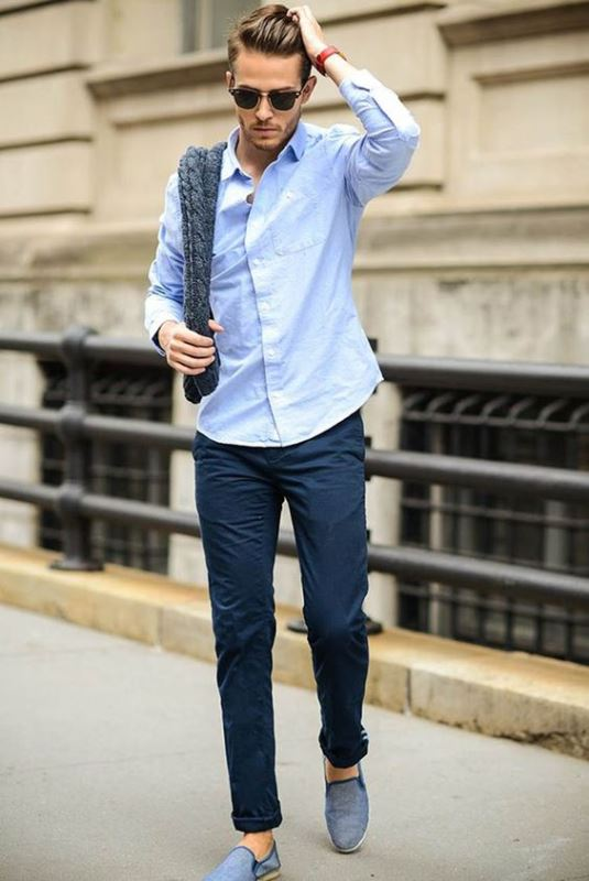 a light blue long sleeve shirt, navy pants, blue slipons for a comfy casual summer look