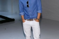 a chambray long sleeve shirt, white pants, grey suede moccasins for a relaxed summer outfit