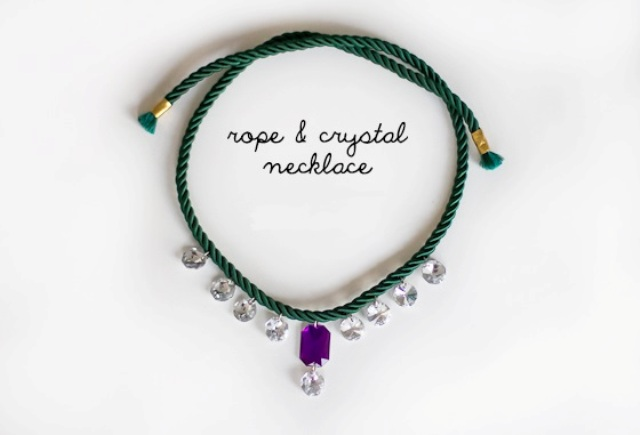 Beautiful DIY Rope And Crystal Statement Necklace