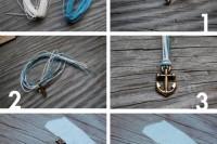 Nautical DIY Fishtail Braided Anchor Bracelet 5