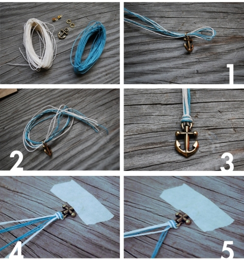 Nautical DIY Fishtail Braided Anchor Bracelet