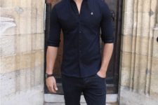 a cool summer men look in black and white tones