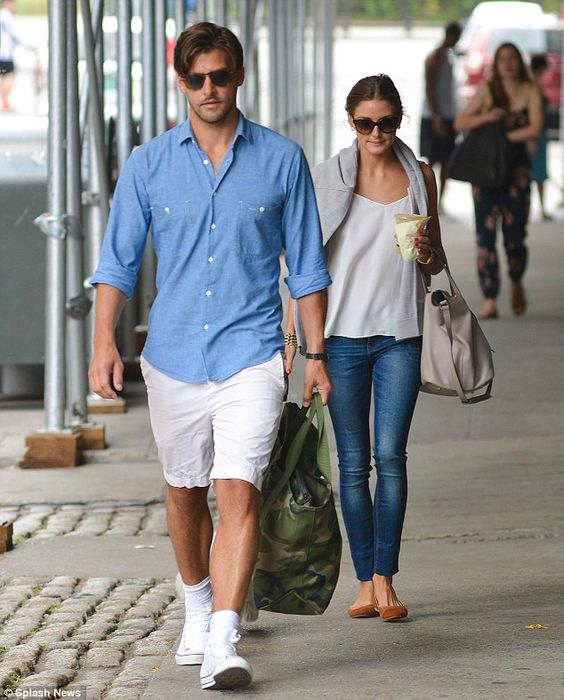 a blue chambray shirt, white shorts, white sneakers and socks for a casual summer look