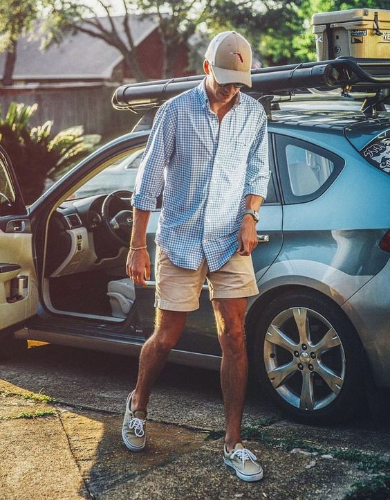 a blue plaid long sleeve shirt, tan shorts, tan sneakers and a cap for a simple vacation look