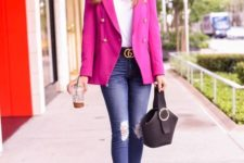 a bright work outfit with a hot pink blazer, a white tee, navy ripped jeans, black shoes and a black bag