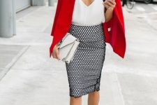 a summer work look with a catchy white top, a printed knee skirt, a red blazer, red laser cut shoes and a white bag
