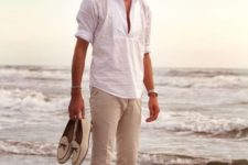 a white shirt, tan pants, neutral moccasins for a vacation or coastal look