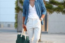 a white tee, white pants, a blu chambray shirt, white sneakers and a green bag for every day