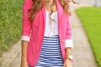 a white tee, a striped pencil skirt, a pink blazer for a bright summer work look