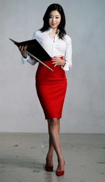 a bold outfit with a white shirt, a red knee skirt, red shoes is a timeless spring work outfit