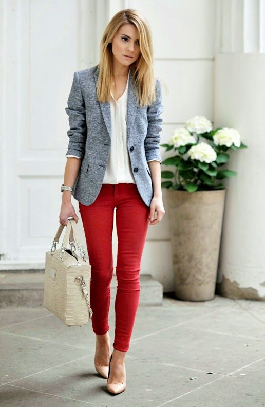 a stylish look with red skinny pants, a white tee, a grey blazer, tan shoes and a white bag for spring and summer