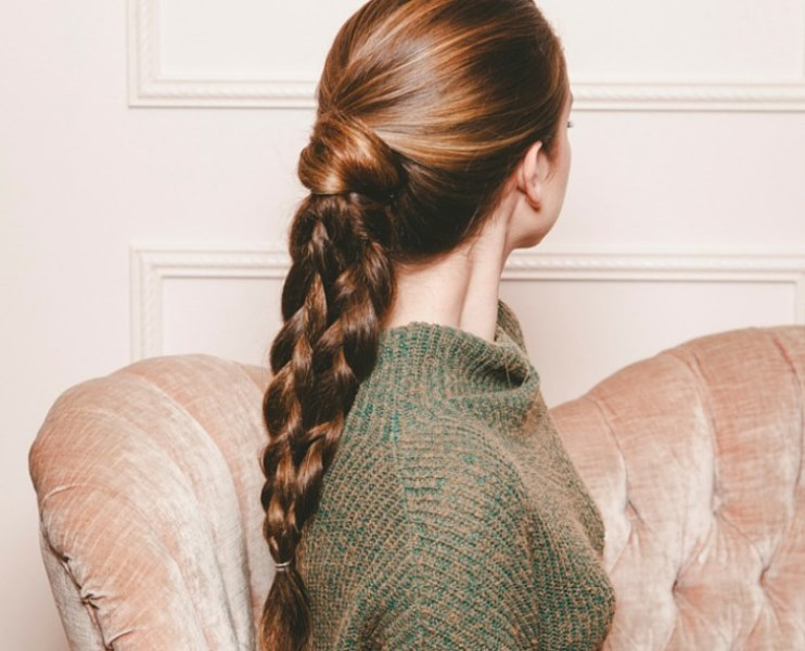 Picture Of chic diy double braided ponytal for a second day hair  2