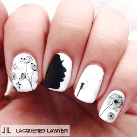 Cute And Easy Black & White DIY Dandelion Nail Art