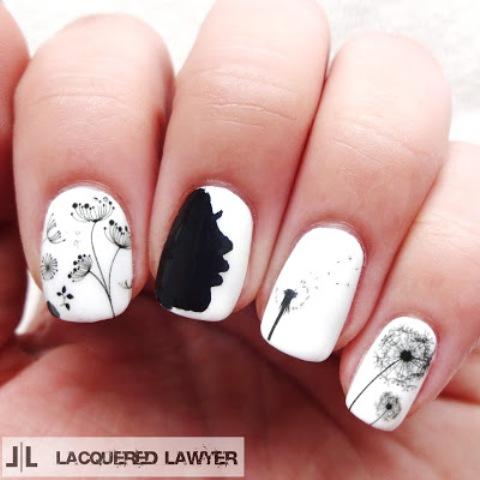 cute and easy black  white diy dandelion nail art
