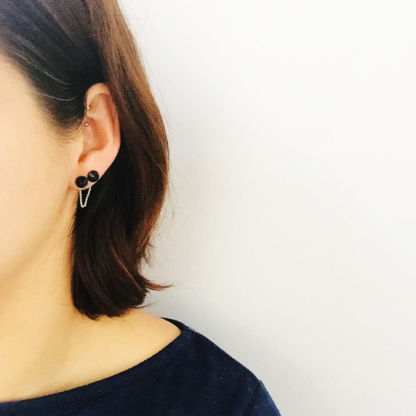 Picture Of diy chain back double stud earrings  1