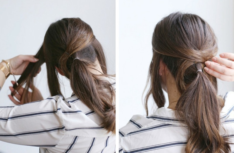 Picture Of easy diy criss cross ponytail for second day hair  2