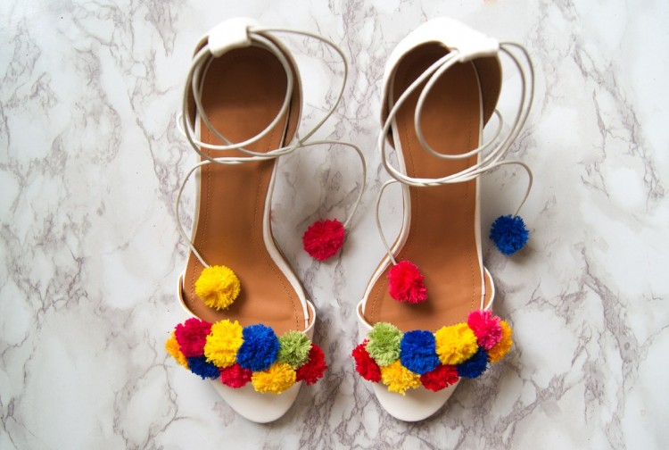 Flirty And Bold DIY Pom Pom Heels