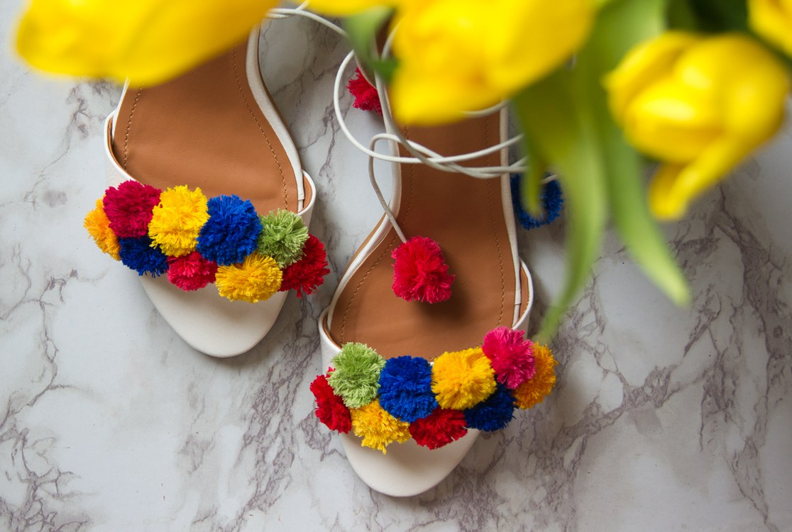 cb71af1e8a Picture Of flirty and bold diy pompom heels 4