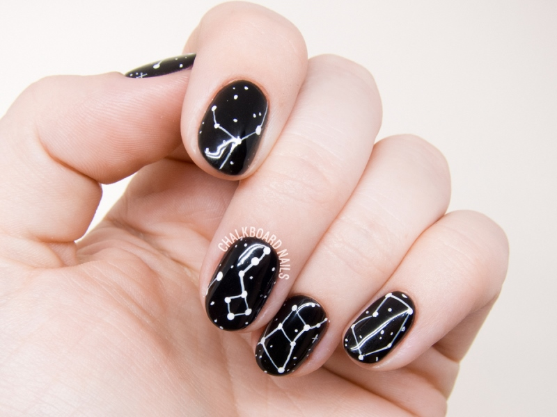 Picture Of galaxy inspired diy constellations nail art to try  3