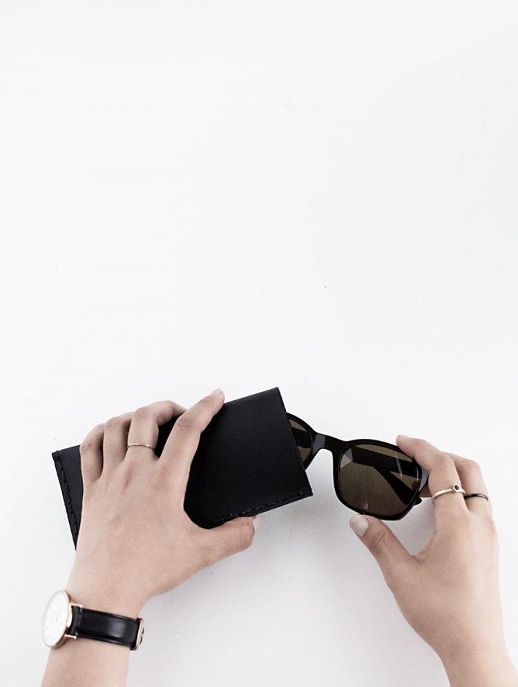 Minimalist DIY Leather Sunglasses Pouch