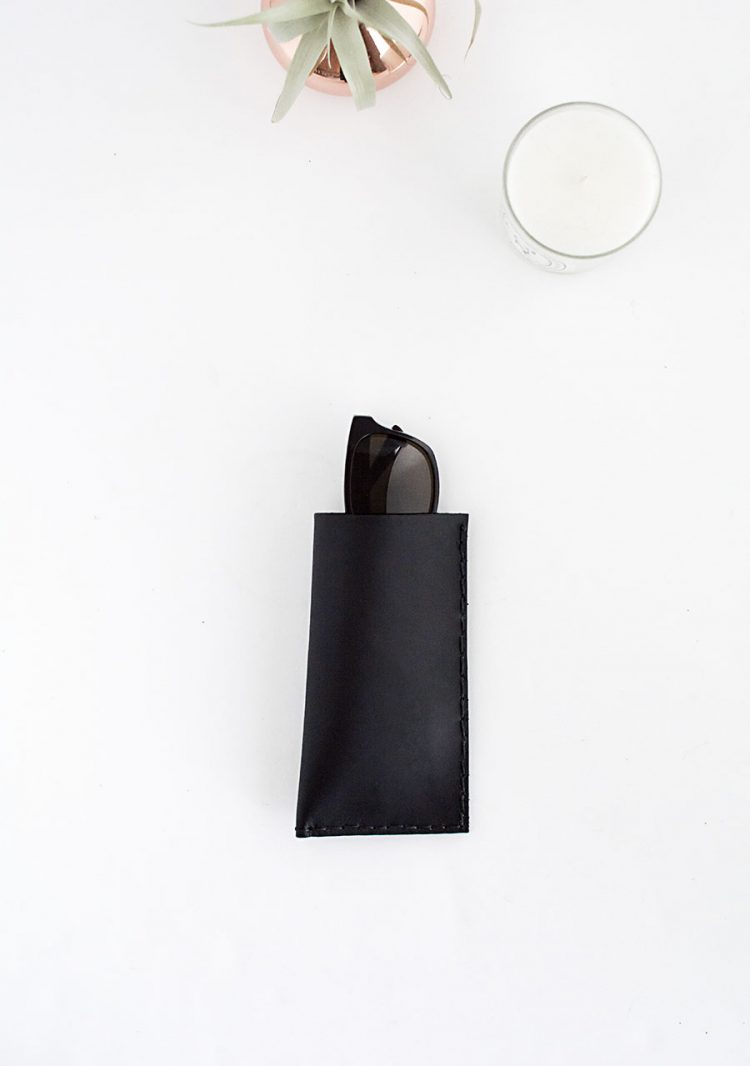 Minimalist DIY Leather Sunglasses Pouch