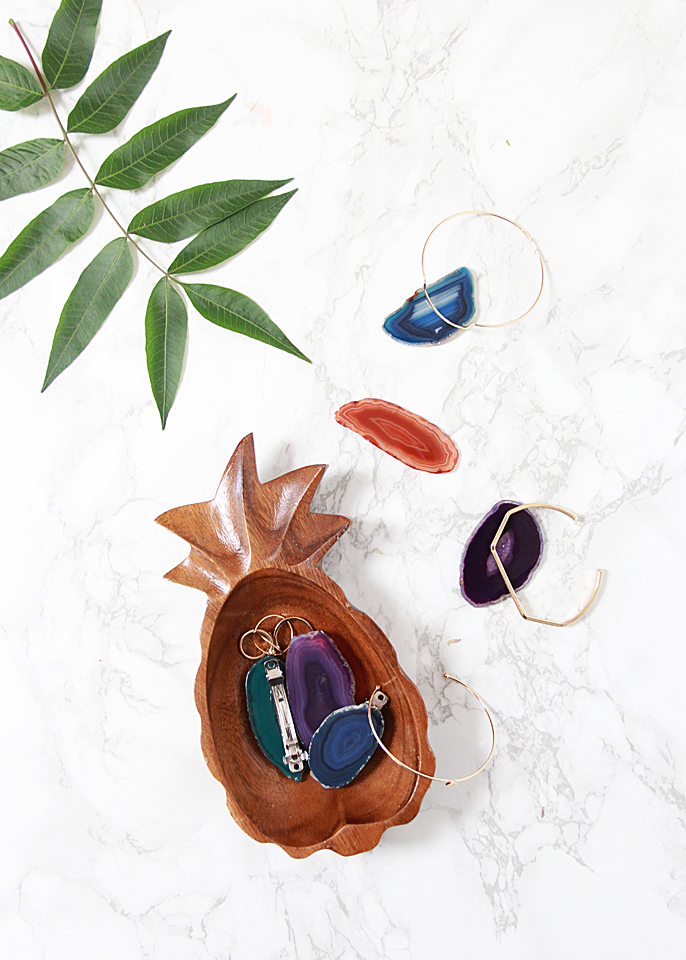 Stylish DIY Agate Slice Hair Clips