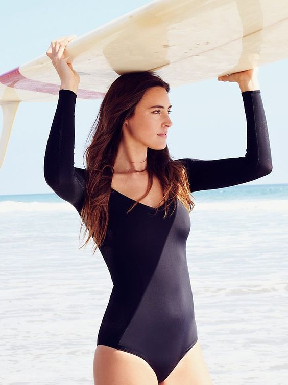 black long sleeved swimsuit
