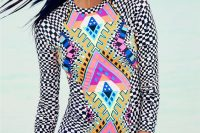 04 bold printed long sleeve swimsuits