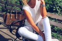 06 white jeans and a white top
