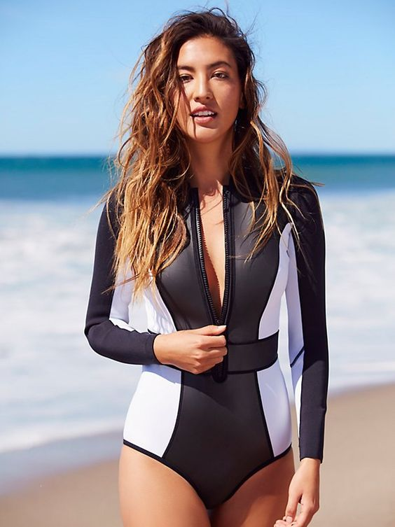 color block neoprene long sleeve one piece