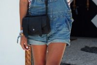 07 denim dungaree with a striped tee