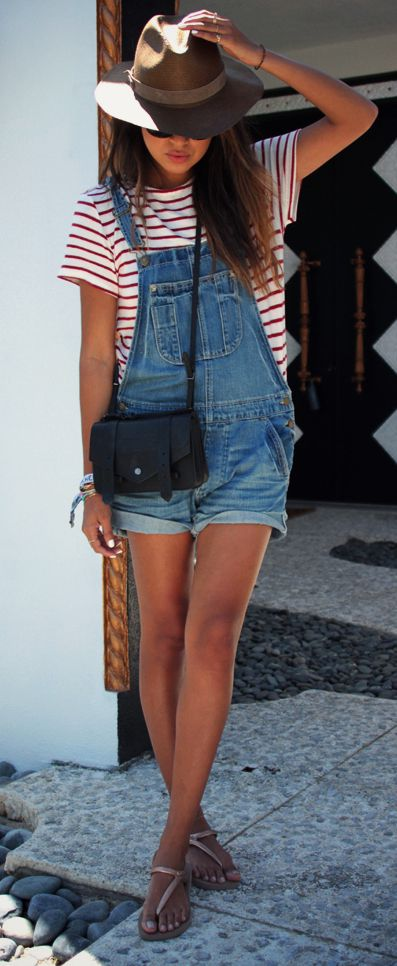 denim dungaree with a striped tee