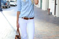 09 white jeans, a denim shirt and thong sandals