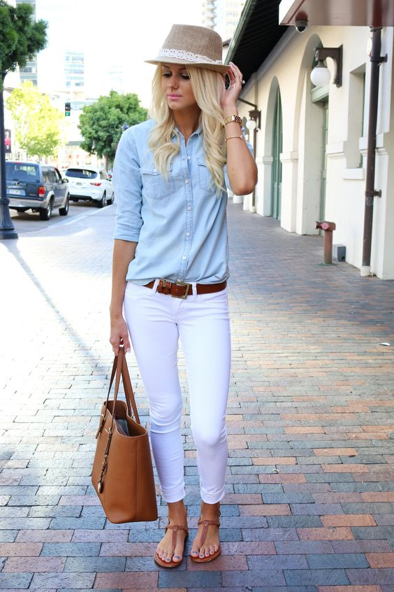 white jeans, a denim shirt and thong sandals