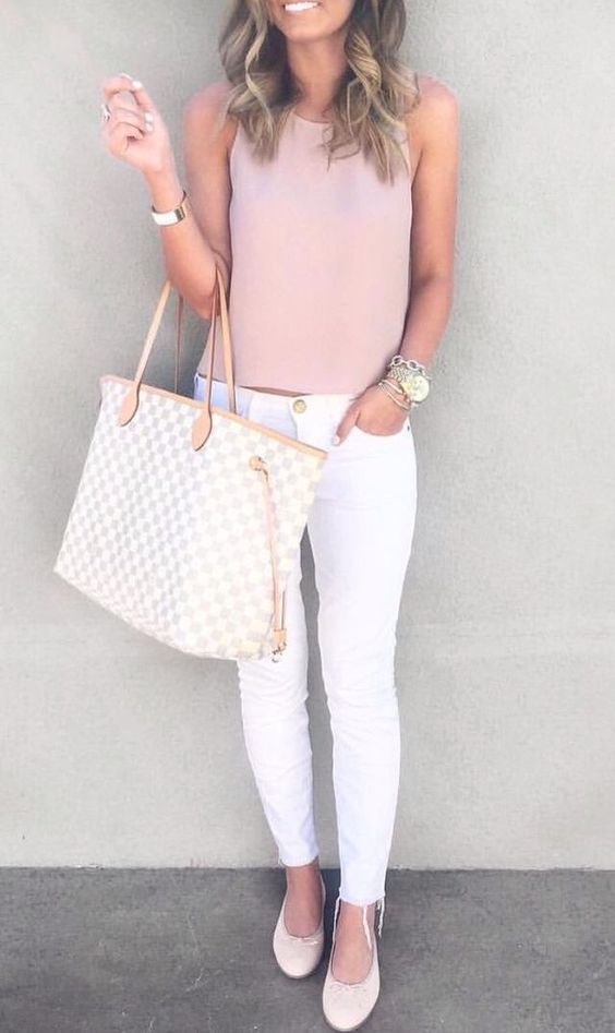 white jeans, a rose quartz top and white flats