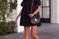 12 off the shoulder black dress and sandals
