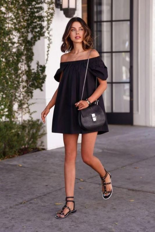 off the shoulder black dress and sandals