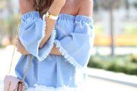 13 off the shoulder denim blouse and distressed denim shorts