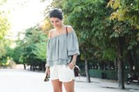 15 off the shoulder top and white shorts
