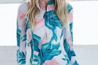 19 tropical print long sleeved swimsuit